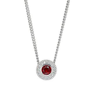 Sterling silver pendant with simulated garnet and simulated diamonds