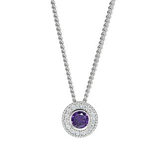 Sterling silver pendant with simulated amethyst and simulated diamonds