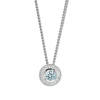 Sterling silver pendant with simulated aquamarine and simulated diamonds