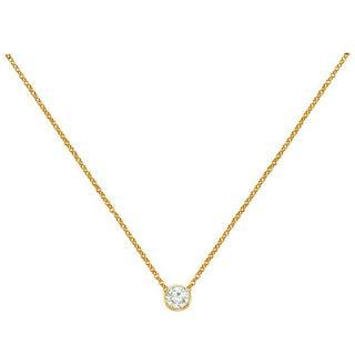 Yellow gold diamond bezel necklace