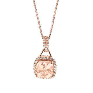Morganite and diamond rose gold pendant