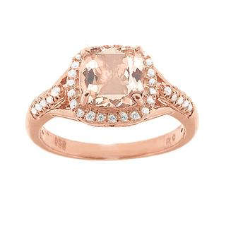 Morganite and diamond rose gold ring