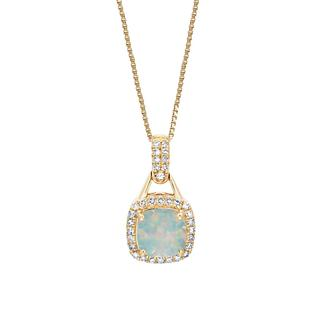 Opal and diamond yellow gold pendant