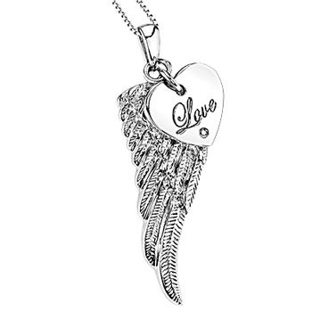 Sterling silver wing with heart pendant