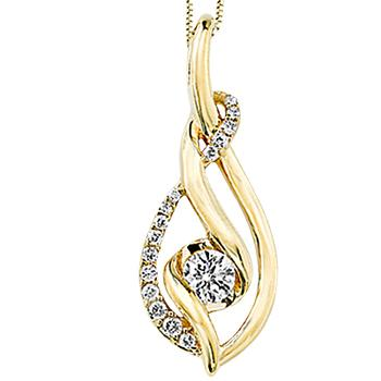 Yellow gold Sirena diamond pendant
