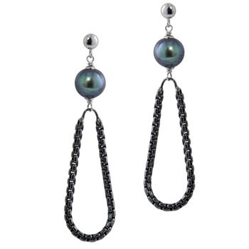Sterling silver pearl and rhodium earrings