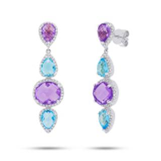 Diamond drop earrings with amethyst and topaz