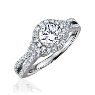 White gold diamond semi split shank engagement ring