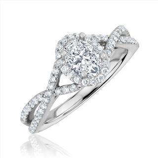 White gold semi engagement ring for oval center