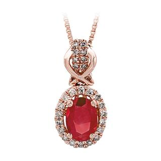 Ruby and diamond rose gold pendant