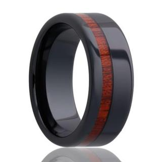 Men'sblack ceramic wedding band