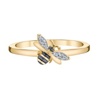 Yellow gold honey bee ring