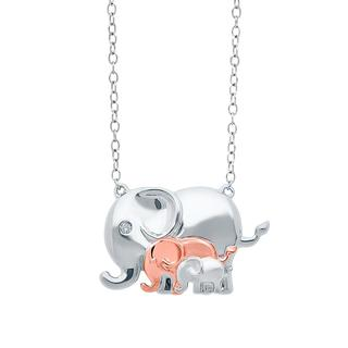 Sterling silver origami elephant with babies