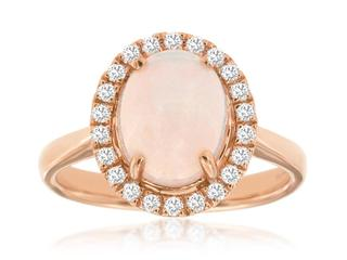 Rose gold oval opal and diamond ring