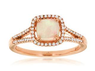 Rose gold split shank diamond and opal ring