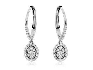 White gold diamond huggie danglle earrings