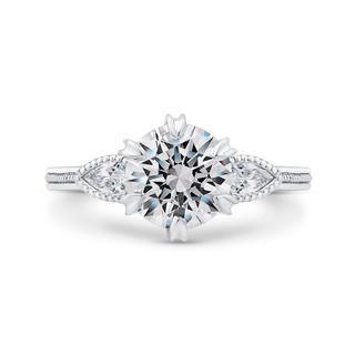 White gold semi engagement ring