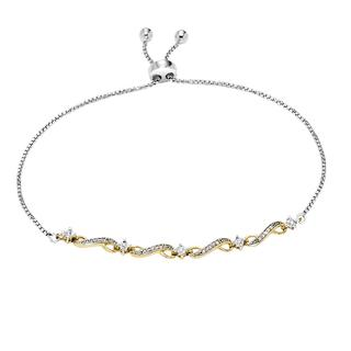 Sterling silver bolo bracelet with yellow gold plating