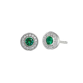 Sterling silver earrings with simulated emeralds and simulated diamonds