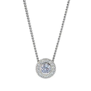 Sterling silver pendant with simulated light amethyst and simulated diamonds