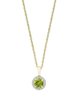 Diamond and peridot pendant in yellow gold