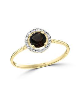 Diamond and smoky quartz ring in yellow gold