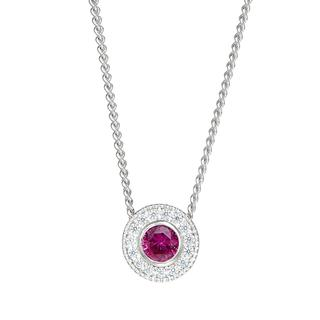 Sterling silver pendant with simulated ruby and simulated diamonds