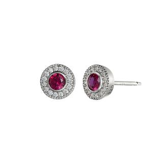 Sterling silver earrings with simulated rubies and simulated diamonds