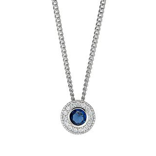 Sterling silver pendant with simulated sapphire and simulated diamonds