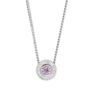Sterling silver pendant with simulated pink sapphire and simulated diamonds