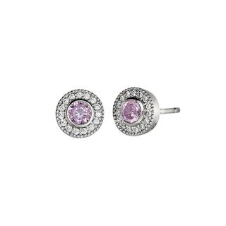 Sterling silver earrings with simulated pink sapphires and simulated diamonds