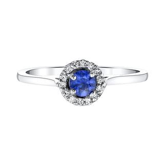 White gold diamond and genuine blue sapphire ring