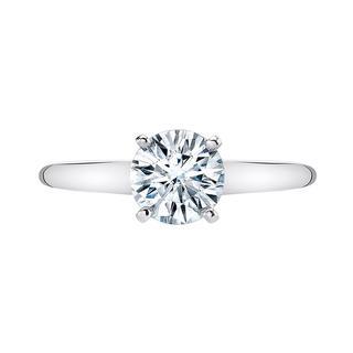 White gold engagement ring with moissanite center