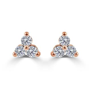 Diamond three stone earrings