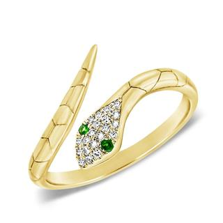 Diamond and tsavorite snake ring