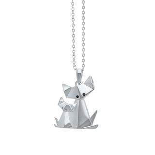 Sterling silver origami cat and kitten pendant