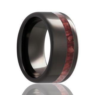 Men's black diamond ceramic wedding band
