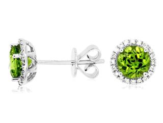 Peridot and diamond stud earrings