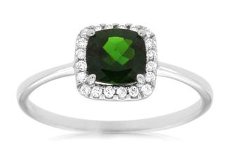 Russalite cushion gemstone and diamond ring