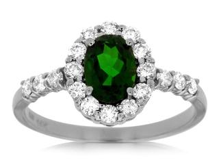 Russalite gemstone and diamond ring
