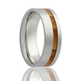Men's cobalt wedding band with koa wood inlay