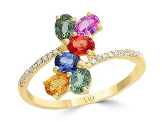 Multicolor sapphire and diamond ring