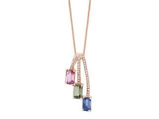 Multicolor sapphire and diamond pendant