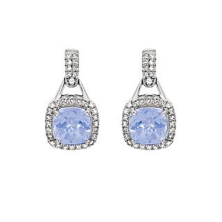 Tanzanite and diamond white gold earrings