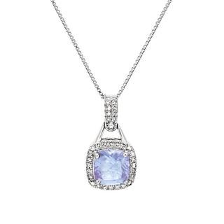 Tanzanite and diamond white gold pendant
