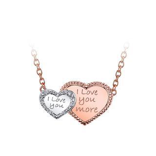 Double heart sterling silver pendant