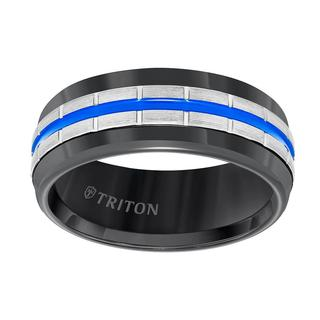 Men's black tungsten carbide wedding band