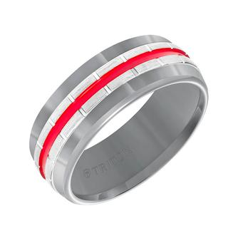Men's grey tungsten wedding band with red center