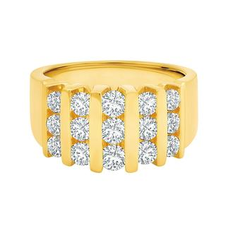 Yellow gold glamour band with lab grown diamonds