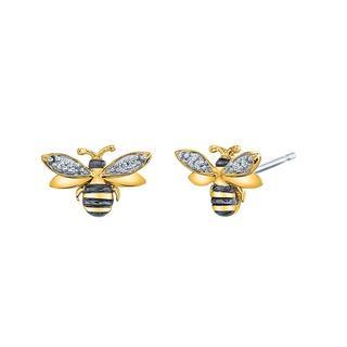 Sterling silver origami honey bee earrings